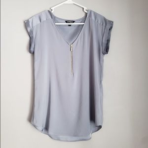 Express Silky Gramercy Silver Blouse Lrg